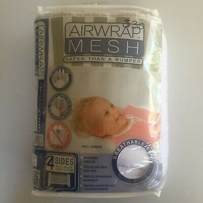 "AIRWRAP MESH - ""Safer than A Bumper"" - Baby Cot Bumper - 4 Sides"