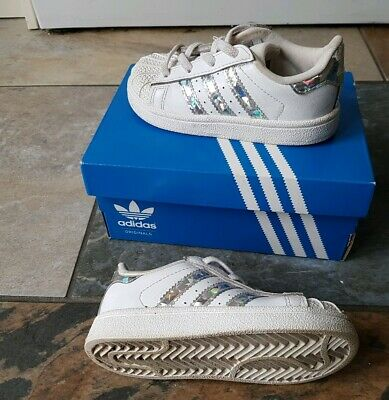 Adidas Superstar Trainers Infant Size 6K Girls white & silver holographic Vgc UK