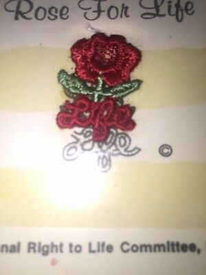 Anti Abortion Rose For Life National Right To Life Movement 1976 Applique Vtg