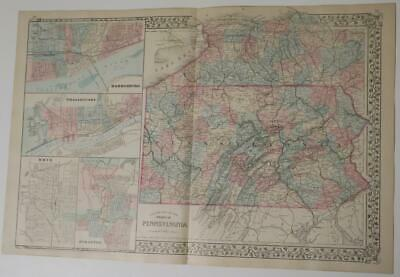 ORIGINL 1880 Mitchell's New General Atlas HAND-COLORED Map,PENNSYLVANIA & CITIES