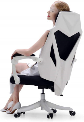 Hbada Office Adjustable Chair, High Back with Breathable Mesh Recline Desk White