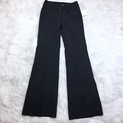 CAbi NWT $98 Wide Leg Striped Trouser Pants Style 642 Size 0 Black Blue Career