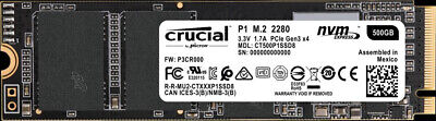 Crucial P1 500 GB M.2 1900 MB/s 3D NAND NVMe PCIe M.2 SSD Crucial CT500P1SSD8