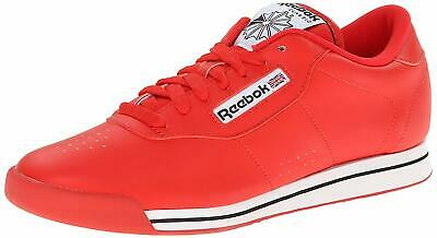 Reebok Womens Princess Classic Low Top Lace Up, Techy Red/White/Black, Size 7.0