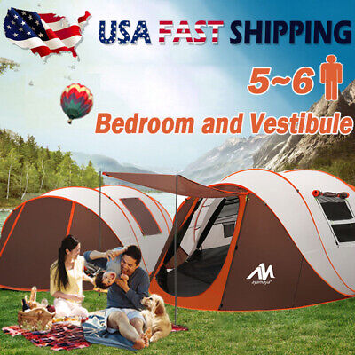 4-6 Person Outdoor Camping Tent Large Pop up Sunshade Shelter Waterproof Hiking