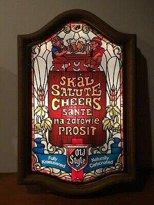 Heilmans Old Style Lighted Beer Sign Stained Glass Salute Cheers Sante Prosit
