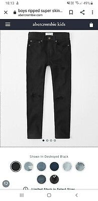 Boys Abercrombie & Fitch Kids Blue Skinny Jeans Age 15/16