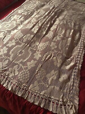 ~Vintage~  Ivory Lace Tablecloth/Bed Topper  ~Heavy~ Rectangle 39x54