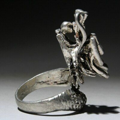 Collectable China Miao Silver Hand-Carved Myth Dragon Auspicious Delicate Ring