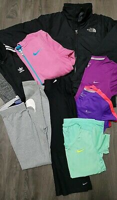 GIRLS SPORT GYM BUNDLE AGE 12-13 Years NIKE,ADIDAS,NORTH FACE,TOPS,LEGGINGS,COAT