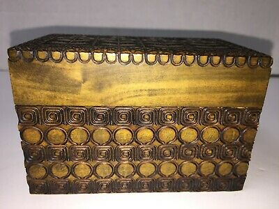Vintage Intricately Hand Carved Playing Card Two Deck Hinged Box from Poland