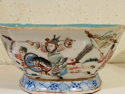 Chinese Qing Famille Rose Hexagon Antique Porcelain Bowl