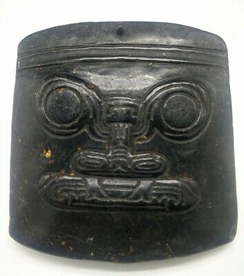 Hongshan culture Magnetic jade stone carved Person's face jade pendant F01