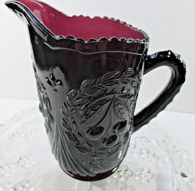 Moser Glass Pitcher Cherries Amethyst Cherries Purple 8 in Footed Vintage #A5991