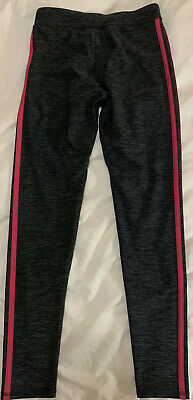 Adidas Girls Gray Athletic Leggings With Pink Side Stripes Size Medium (10/12)