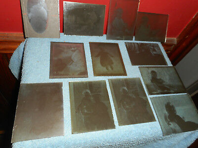 Antique Hammer Photographic Dry Plates 12 Glass Negatives Young Girl Maple Sled