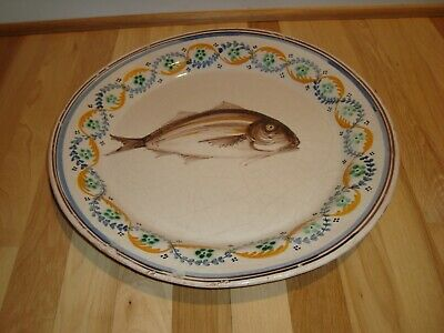 """Antique 18th c 1700s Continental Italian Italy Faience 16"""" Majolica Charger Fish"""