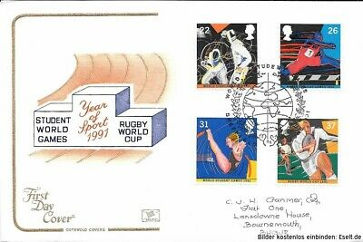 GB 1991  World Student Games & World Cup Rugby. First Day Cover  Cat £10