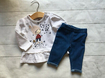 Baby Girl's Clothes 0-3 Mths - 2pc Outfit Stars Theme Tunic Top & Jeggings Set