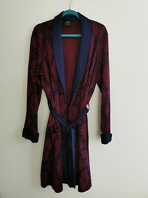 Vintage St Michael Red Blue Dressing Gown Robe Sz M Made In UK triacetate M&S