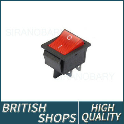 1/5pcs Red Rocker Switch 240V Mains ON / OFF Double Pole 4 Pin DPST New