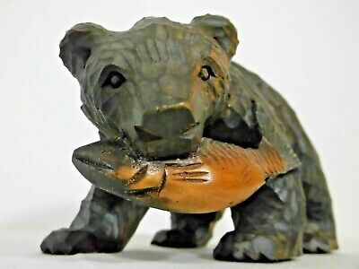 Bear wood carving  Animal Figurine antique Folk art Japan AINU Hokkaido