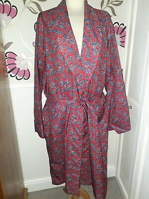 Tootal Recency Vintage 1970S Red Paisley Pattern Dressing Gown Smoking Jacket M