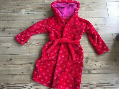 Girls Marks & Spencer Red Fluffy Dressing Gown size 7-8 years