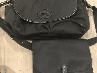 Tory Burch Black Messenger Diaper Bag With Changing Pad
