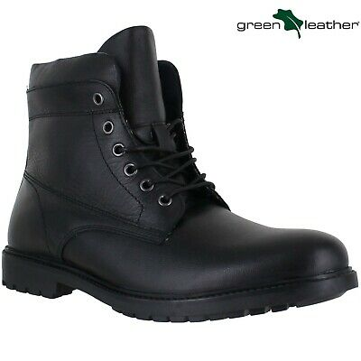 Mens Leather Military Army Combat Walking Lace Work Ankle Black Boots Shoes Size