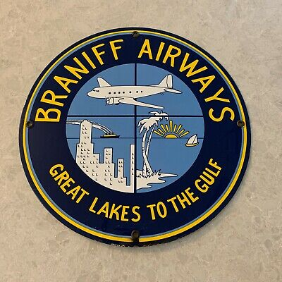 Vintage - Braniff Airways (Great Lakes To The Gulf) Porcelain Sign - RARE!!!!