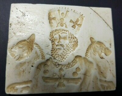 Ancient sassanian king shapur and lion guards hard stone intaglio seal relief