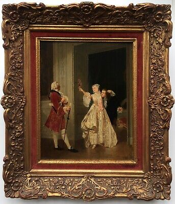 Charles Désiré Hue French Courting Couple Original Signed Antique Oil Painting