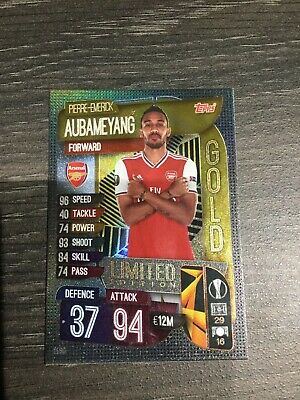 Match Attax Cl 19/20 Gold Limited Edition Pierre Emerick Aubameyang Arsenal Le8G