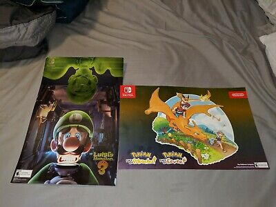Luigis Mansion 3 Exclusive Promo Poster Nintendo Switch Lets go Pikachu Eevee