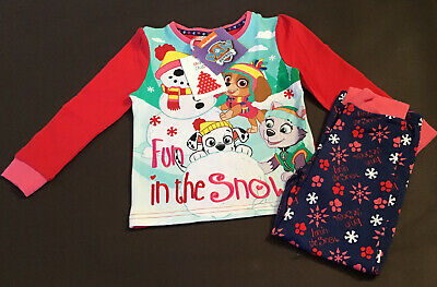 Girls Christmas Themed Marshall Chase Skye Kids Paw Patrol Pyjama Set 3-4 Years