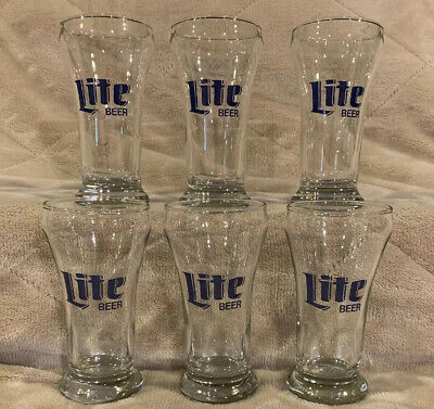 "Lot of 6 Miller Lite Beer 5"" Tall Bar Sham Glasses Pub Man Cave Cup Mug Stein"