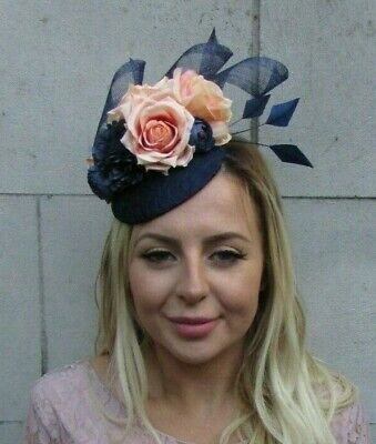 Navy Blue Peach Apricot Flower Feather Pillbox Hat Fascinator Races Wedding 8025