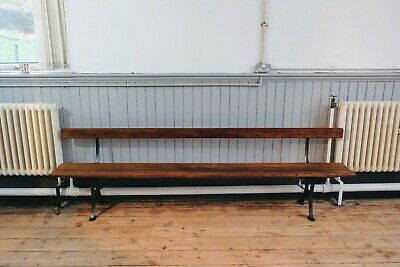 Large Antique H Addison Cast Iron and pitch pine Railway, School, Garden Bench