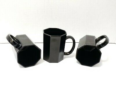 3 Porcelain Coffee Tea Mug Shiny Black 8 Sided Octagon Made In France Arcoroc