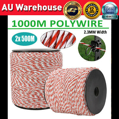 2X 500m Roll Polywire Electric Fence Fencing Stainless Steel Poly Wire Insulator