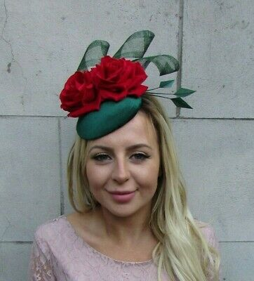 Bottle Dark Emerald Green Red Rose Floral Flower Feather Hat Fascinator 8029