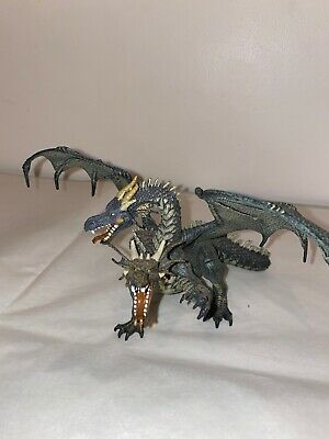 PAPO Green / Gray Two-Headed Winged Dragon 2005 Fantasy Figure Mint Collectible
