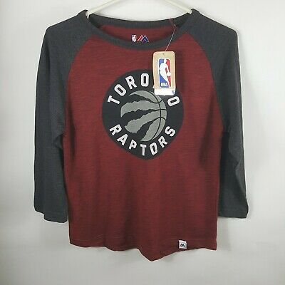MAJESTIC NBA  TORONTO RAPTORS RED Maroon 3/4 SLEEVE T-SHIRT SIze Small