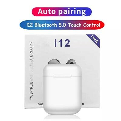 I12 TWS Bluetooth Wireless Pod Earphone Headphone Smart Touch Siri WHITE🔥