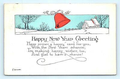Postcard Happy New Year Greeting Arts & Crafts Style E Weaver 1920s H20