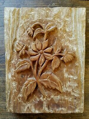 Folk Art Hand Carved Wooden Flower Bouquet  Signed 1977