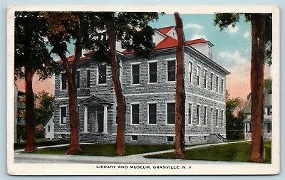 Postcard NY Granville Library and Museum c1920s View Q2