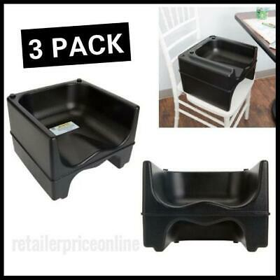 3 PACK Restaurant Black Dual Height Plastic Booster Seat