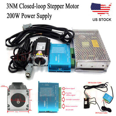428Oz-in 3NM Closed Loop Stepper Motor Nema23 Servo Driver 200W Power Supply CNC